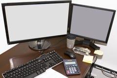 Podwójni komputerów monitory Fotografia Stock