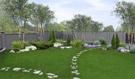 Podwórka ogrodniczy tło, 3d odpłaca się Zdjęcie Royalty Free