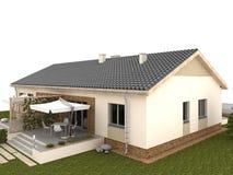 Podwórko klasyka dom z tarasem i ogródem. Obraz Royalty Free