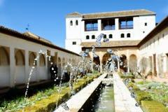 Podwórze acequia w Generalife, Alhambra, Granada obrazy stock
