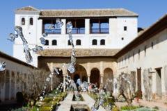 Podwórze acequia w Generalife, Alhambra, Granada zdjęcie royalty free