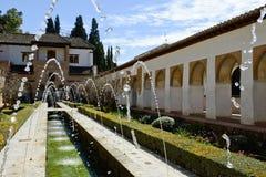 Podwórze acequia w Generalife, Alhambra, Granada zdjęcia royalty free
