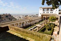 Podwórze acequia w Generalife, Alhambra, Granada fotografia stock