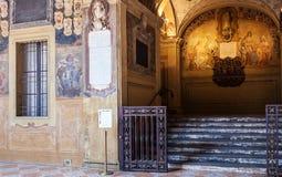Podwórze Archiginnasio pałac w Bologna zdjęcie stock