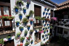 Podwórze dekorował z kwiatami, cordoba, Hiszpania zdjęcie stock