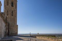 Podwórze dostęp stara katedra Lleida Catalonia Hiszpania zdjęcia stock