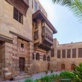 Podwórze El Razzaz Mamluk ery historyczny dom, Darb al okręg, Stary Kair, Egipt obraz stock