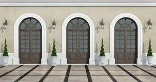 Podwórze klasyczny dom ilustracji