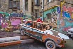 Podwórze mieszkanie dom z graffiti, St Petersburg, Rosja Fotografia Stock