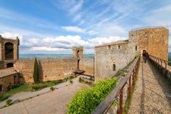 Podwórze Montalcino forteca w Val d ` Orcia, Tuscany, Włochy Zdjęcia Royalty Free