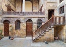 Podwórze ottoman historyczny Beit El Ustalony Waseela buduje Waseela Han dom, lokalizować w Darb al okręgu, Kair, Egipt obraz stock