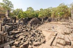 Podwórze półdupka Phuon świątynia, Angkor Thom, Siem Przeprowadza żniwa, Kambodża zdjęcia royalty free