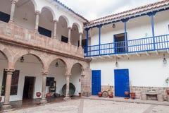 Podwórze stary kolonisty dom w Cuzco obraz stock