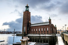 Podwórze Sztokholm urząd miasta w zimie, Szwecja zdjęcia stock