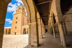 Podwórze Wielki meczet Kairouan Tunezja, afryka pólnocna Obrazy Stock