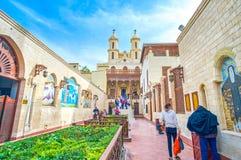 Podwórze Wiszący kościół w Koptyjskim okręgu w Kair, obrazy royalty free