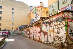 Podwórze z graffiti w St Petersburg Zdjęcia Royalty Free