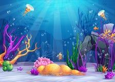 Podwodna światowa kreskówki ilustraci ilustracja wektor