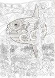 Podwodna księżyc ryba w zentangle Zdjęcia Stock