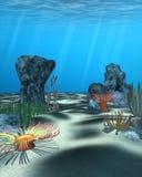 Podwodna scena z skałami i kolorową roślinnością obraz stock