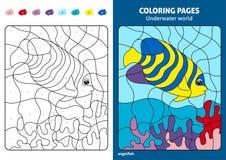 Podwodna światowa kolorystyki strona dla dzieciaków, angelfish royalty ilustracja
