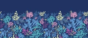 Podwodnej gałęzatki horyzontalny bezszwowy wzór royalty ilustracja