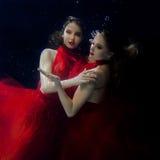 Podwodni dwa portreta ot młode piękne dziewczyny Zdjęcie Royalty Free