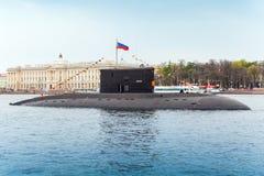 Podwodni Vyborg stojaki cumowali na Neva rzece Fotografia Royalty Free
