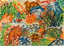 Podwodny światowy abstrakcjonistyczny obraz ilustracji