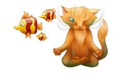 Podwodny kot robi joga Obrazy Stock