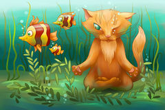 Podwodny kot robi joga Zdjęcie Royalty Free