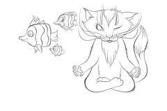 Podwodny kot robi joga Zdjęcie Stock