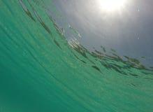 Podwodny morze karaibskie z sunburst Zdjęcie Stock