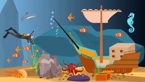Podwodny skarb, nurek, głęboki morze royalty ilustracja
