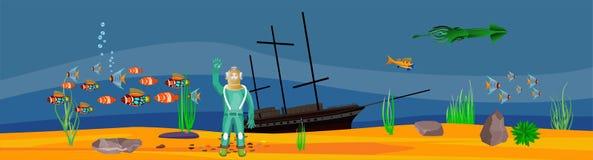 Podwodny skarb, nurek, głęboki morze ilustracja wektor