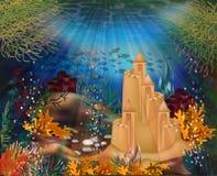 Podwodny tło z piaska kasztelem, wektor royalty ilustracja