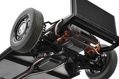 Podwozie ramowy samochód, dolny widok, zakończenie Zdjęcie Stock
