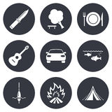 Podwyżki wycieczka, campingowe ikony Połów, turystyczny namiot Fotografia Stock