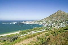 Podwyższoni sceniczni widoki na sposobie przylądka punkt, przylądek Dobra nadzieja na zewnątrz Kapsztad, Południowa Afryka Obrazy Stock