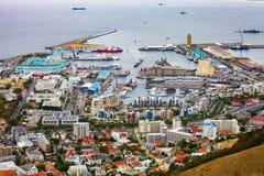 Podwyższony widok V&A nabrzeże w Kapsztad schronieniu obrazy royalty free