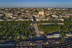 Podwyższony trutnia wizerunek Potemkin schodki Odessa Fotografia Royalty Free