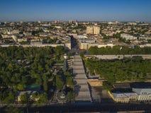 Podwyższony trutnia wizerunek Potemkin schodki Odessa Zdjęcia Royalty Free