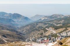Podwyższony widok Prado Llano w sierra Nevada Zdjęcia Stock