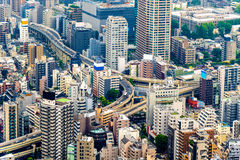 Podwyższona drogowa wymiana w Tokio centrum miasta Fotografia Stock