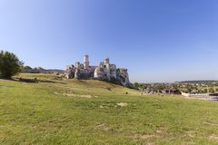 Ruins of 14th century medieval castle, Ogrodzieniec Castle, Podzamcze, Poland Royalty Free Stock Images