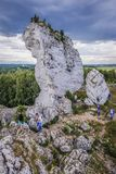 Polish Jura region. Podzamcze, Poland - July 1, 2017: Limestone rock near Ogrodzieniec Castle, one of the chain of 25 medieval castles called Eagles Nests Trail royalty free stock image