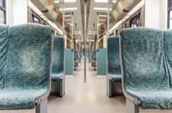 Podziemny metro pociągu wnętrze - Nowożytny metro obrazy royalty free