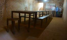 Podziemny pokój konferencyjny przy Cu Chi tunelem Zdjęcia Royalty Free