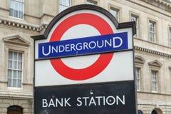 Podziemny wejście przy bankiem w mieście Londyn Zdjęcia Royalty Free