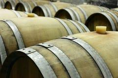 Podziemny wino loch z rzędami drewniane baryłki 3 Obrazy Stock